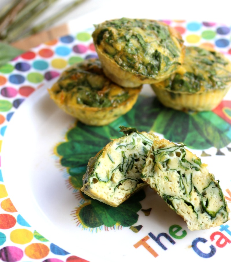 mini spinach and egg muffins.  Simple, healthy and made using whole food ingredients.  The perfect no-fuss healthy toddler lunch!