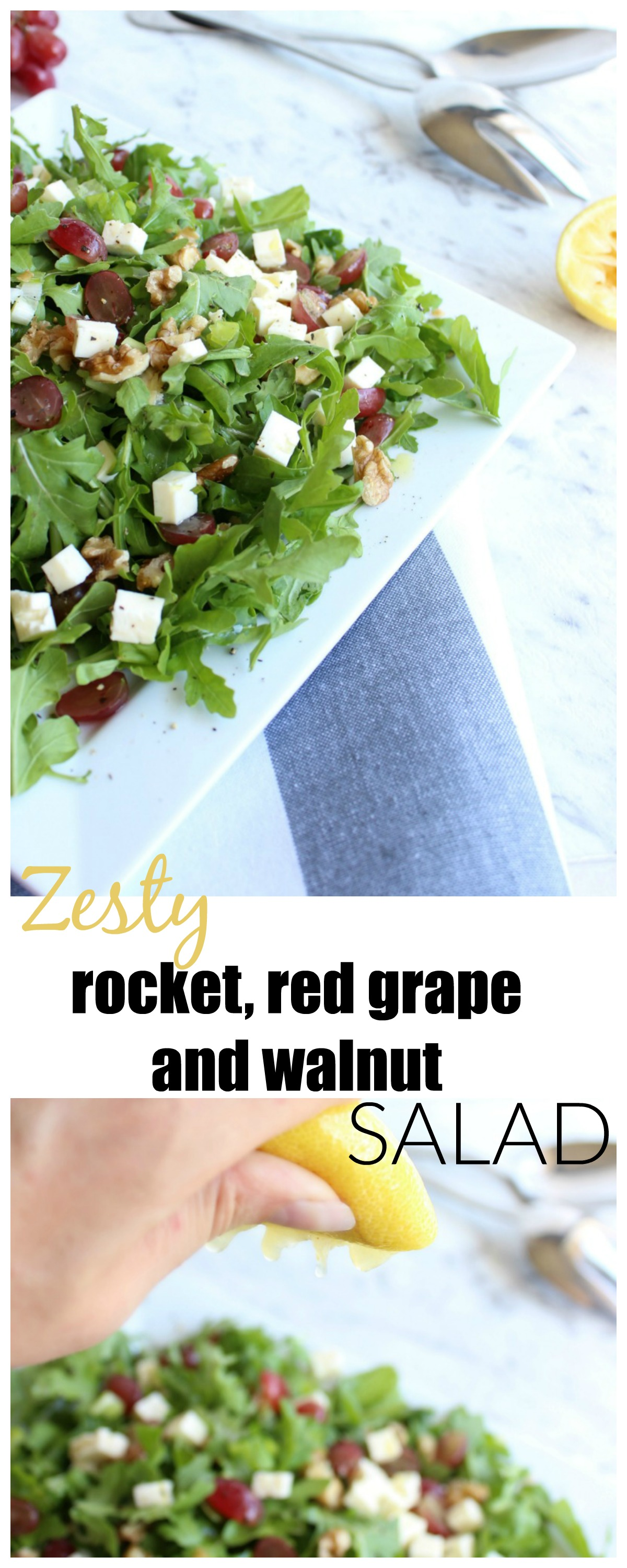 zesty rocket salad with red grape and walnut pin