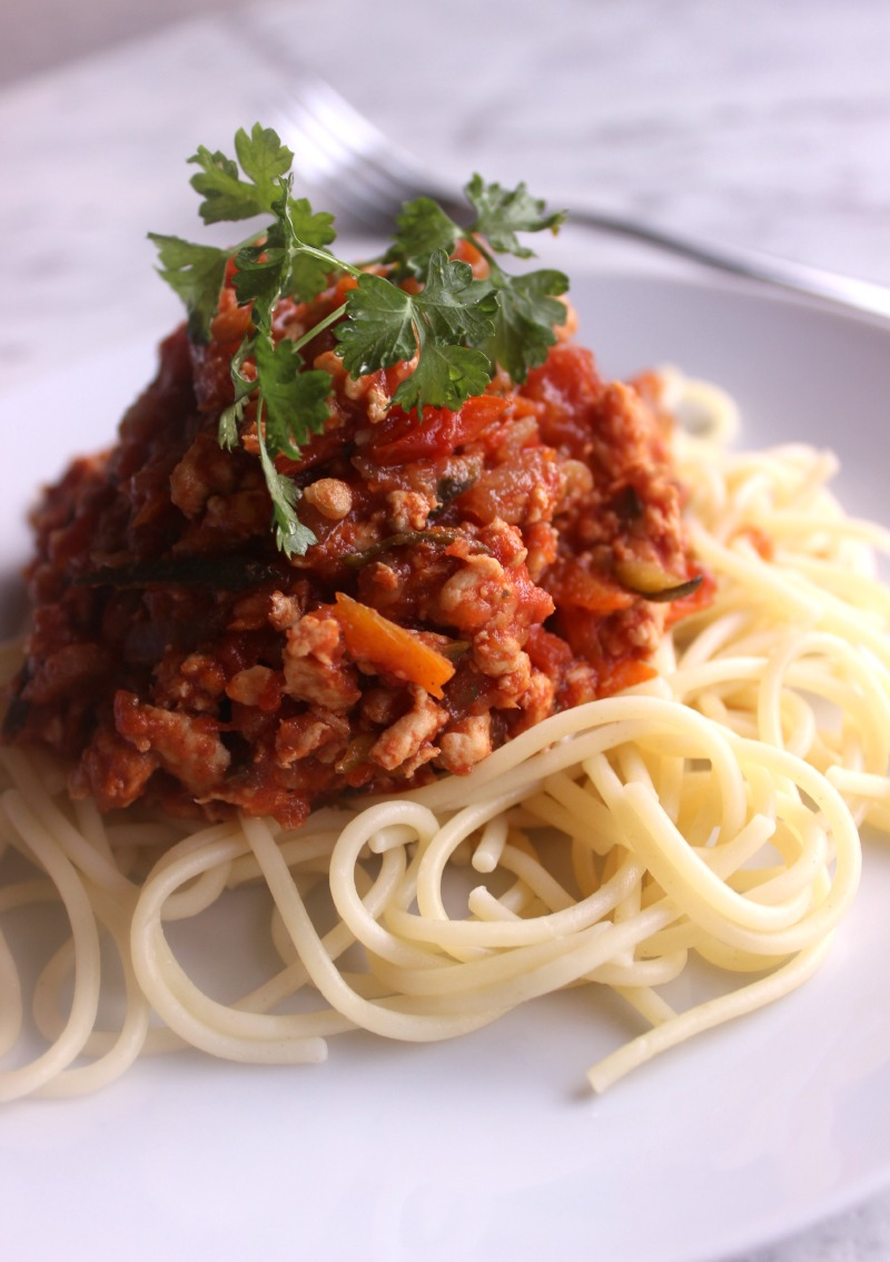 Kid Approved Slow Cooker Healthy Chicken Spaghetti Bolognese Her Nourished