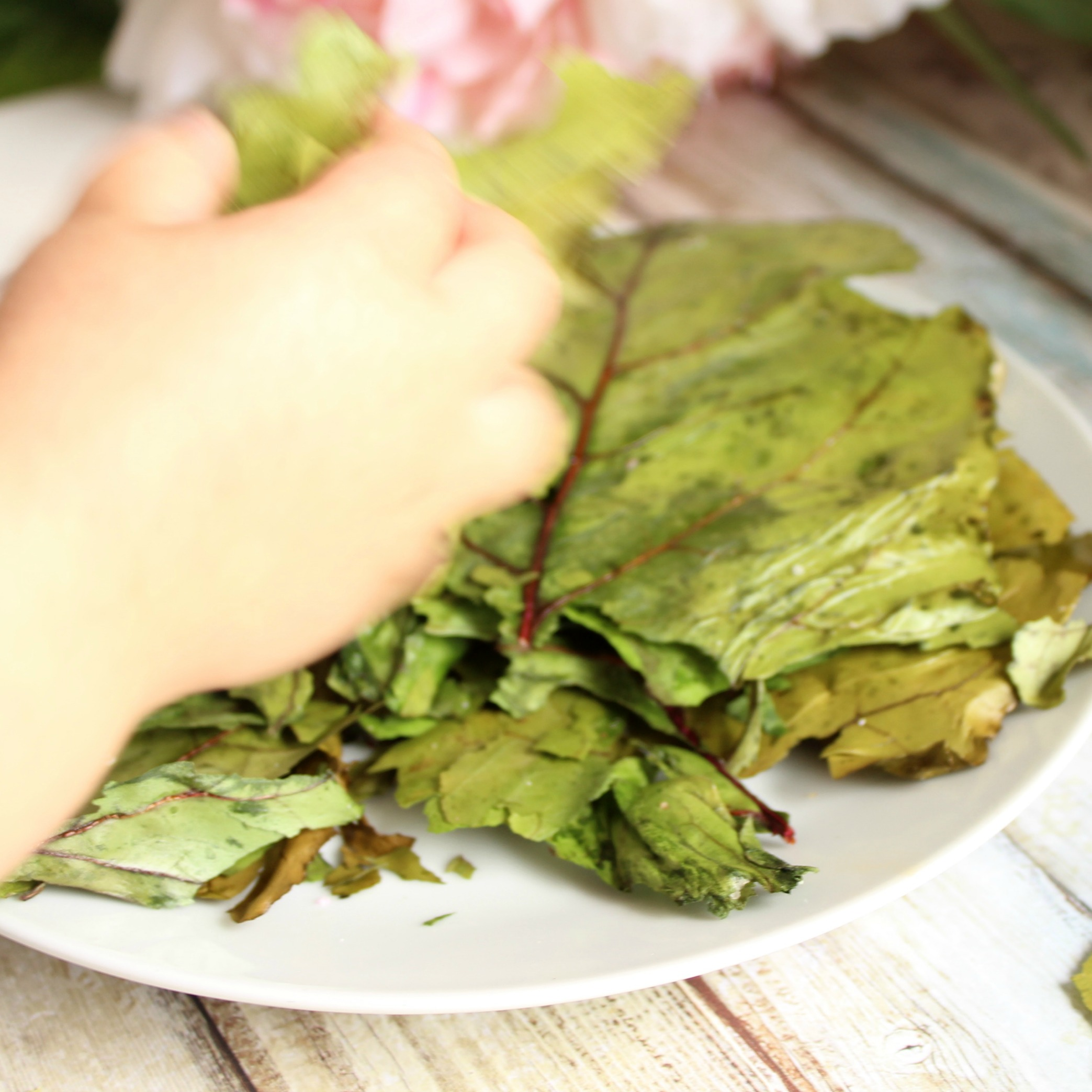 Beetroot leaf chips. Minimise food wastage by using the WHOLE beetroot to make these delicious and simple beetroot leaf chips.
